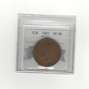 1921**Great Britain, One Penny, Coin Mart Graded**VF-30**