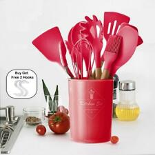 Kitchen Utensils Set Cooking Silicone Gadgets Wooden Spatula Holder Kitchen Tool