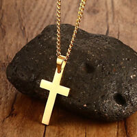 Unisex's Men's Lady Cross Pendant Stainless Steel Link Chain Necklace Jewelry