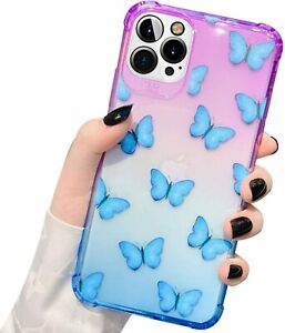 Compatible with iPhone 12 Pro Max Iridescent Case Gradients Butterfly Design TPU