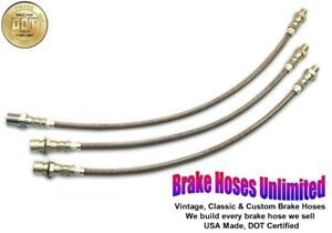 STAINLESS BRAKE HOSE SET Hudson Super Six, Series 41, 11, 21 - 1940 1941 1942