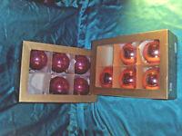 10 alte große Christbaumkugeln Glas mundgeblasen rosa Weihnachtskugeln Vintage