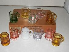 Lot of 11 Vintage Shot Glass Pink Yellow Milk Green Amber Depression Glass