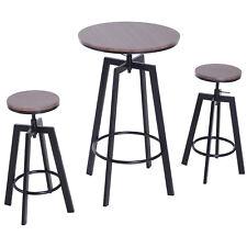 3pcs Bar Table Set 2 Stools Steel Pub Dining Desk Chairs Height Adjustable