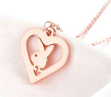 STAINLESS STEEL ROSE GOLD PLAYBOY BUNNY RABBIT HEART PENDANT NECKLACE