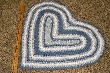 Primitive Folk Art Heart Shaped Hand Crocheted Rag Rug - Throw Rug
