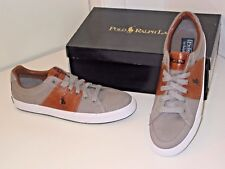 Ralph Lauren Polo Jael Gray Canvas Tan Trim Fashion Sneakers Shoes Mens 7.5