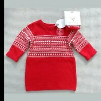BNWTS NEXT Baby Girls Red Nordic Fairilse Knitted Dress & Tights Newborn 10lbs