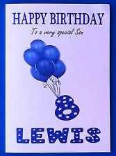 PERSONALISED 8th Birthday Card, BOY, Balloons, EIGHTH Birthday Card Age 8