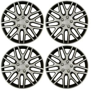 Wheel Trims 16 Inch Hub Caps Plastic Covers Full Set Black Silver Fit R16 TYRES