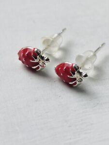 CUTE RED STRAWBERRY Stud Earrings Enamel Silver Plated Metal Size 0.5 x 0.7 cms