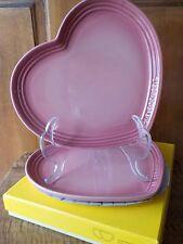 Le Creuset ROSE QUARTZ (PINK) Heart Set of 2 Plates, New in Box