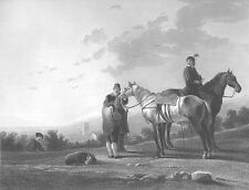 SOLDIERS ON HORSES MARE STALLIONS ~ 1856 Antique ALBERT CUYP Art Print Engraving