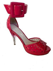 Alannah Hill Vintage Ankle Strap Berry Leather Platform Heels Size 40