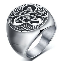 Retro Mens Stainless Steel Ring Round Celtic Knot Signet Rings Size 7-15