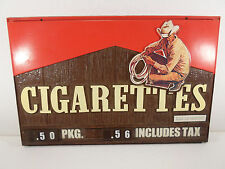Vintage Marlboro Plastic Cigarette Sign Price Changing Smoking Cowboy Display 3D