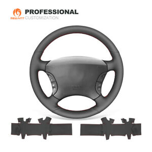 Black Leather Steering Wheel Cover Wrap for Mercedes-Benz S-Class W220 S500 S600