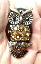 """STUNNING MODERN ESTATE ENAMEL RHINESTONE OWL BIRD 1 7/8"""" BROOCH!! 5421O"""