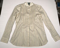 LRL Ralph Lauren Jeans Co Ladies Long Sleeve Pleated Front Striped Shirt Size XS
