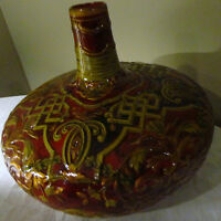 """HOME DECO ART POTTERY HAND CRAFTED PAINTED BURGUNDY GLAZED CERAMIC VASE 10"""" TALL"""