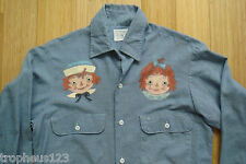 Vtg 50s Wards Selvedge Chambray Shirt Hand Paint Folk Art Raggedy Ann and Andy