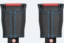blue stitch FITS FORD GRANADA MK3 2X FRONT SEAT BELT STALK LEATHER COVERS