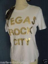 AEM KEI TEE SHIRT BLANC VEGAS ROCK CITY DORE TAILLE L 42/44 NEUF AVEC ETIQUETTE