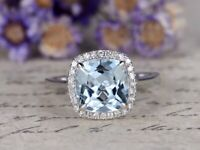 2ct Cushion Cut Blue Aquamarine Diamond Halo Solitaire Ring 14k White Gold Over
