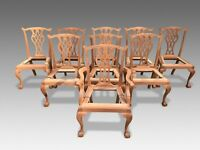Exquisite set of 10 Chippendale style dining chairs, Pro French polished
