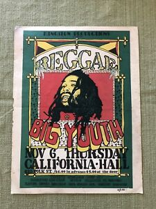 Original Handbill Big Youth Reggae Concert 1975
