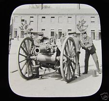 Glass Magic lantern slide HOWITZER GUN DRILL C1900 BRITISH ARMY BOER WAR ERA
