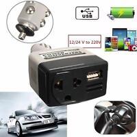 Car Mobile Converter Inverter Adapter DC 12V/24V to AC 220V Charger Power+USB p1