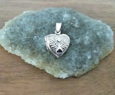 925 Sterling Silver - Small Silver Heart Locket with Angel Holding Heart Lovely!