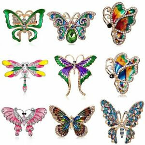 Fashion Crystal Dragonfly Butterfly Brooch Pin Animal Charm Jewelry Gift Party