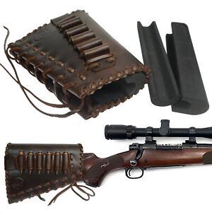 Genuine Leather Hunting Gun Buttstock Cheek Rest Pad Rifle Ammo Holder USA LOCAL