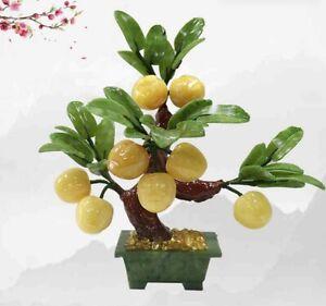 Chinese Feng Shui Jade Stone Peach Bonsai Decor Gemstone Tree Fruit Plant