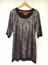 TORY BURCH Dress Brown Silver Knit PAULETTE SEQUIN TUNIC USA 10 (aust 12)