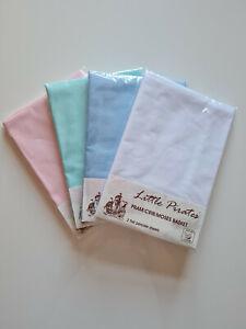 2 x Baby Pram/Crib/ Moses Basket Flat Sheet 100% Ranforce Cotton