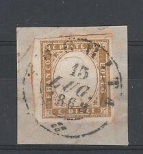 FRANCOBOLLI 1862 SARDEGNA 10 C. BRUNO OLIVASTRO TORRITA 15/7 C/3434