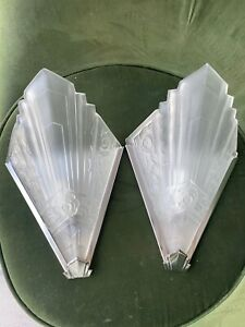 pair of Art Deco style frosted chrome wall lights