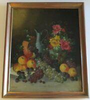 STOITZNER OIL PAINTING ANTIQUE 19TH CENTURY STILL LIFE FRUIT ART DECO ERA LISTED