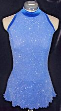 ROYAL BLUE and SILVER Competition Ice Figure Skating Dress / GIRLS MED 8 / 9 /10