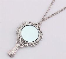 Women Mirror Charming Pendant Retro Silver Chain Necklace Fashion Jewelry Gifts