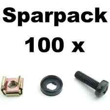 100x Rackschraube M6 x 20, U-Scheibe mit Rand, Käfigmutter für Stahl Rackschiene