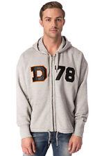 RRP €145 DIESEL Size L Men's S-LEE-GR Distressed Melange Patched Full Zip Hoodie