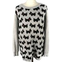 Lakeland Size 12 14 Grey Long Sleeve Scottie Dog Jumper Cotton Wool Blend Knit