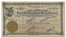 Bunker Hill Consolidated Mining Company Stock Certificate (California)
