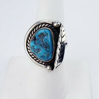Vintage Sterling Silver Native American Navajo Turquoise Ring Size 7.25 Signed