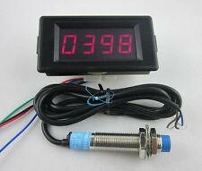 DC12V 4 Digital Red LED Counter Meter Plus Minus+Proximity Switch Sensor NPN new