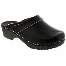 BJORK Mala Wood Open Back Leather Clogs